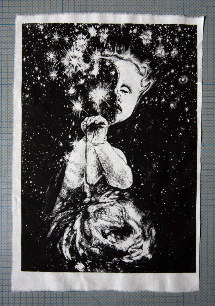 Starseeker Screenprint Back Patch with cm marks background
