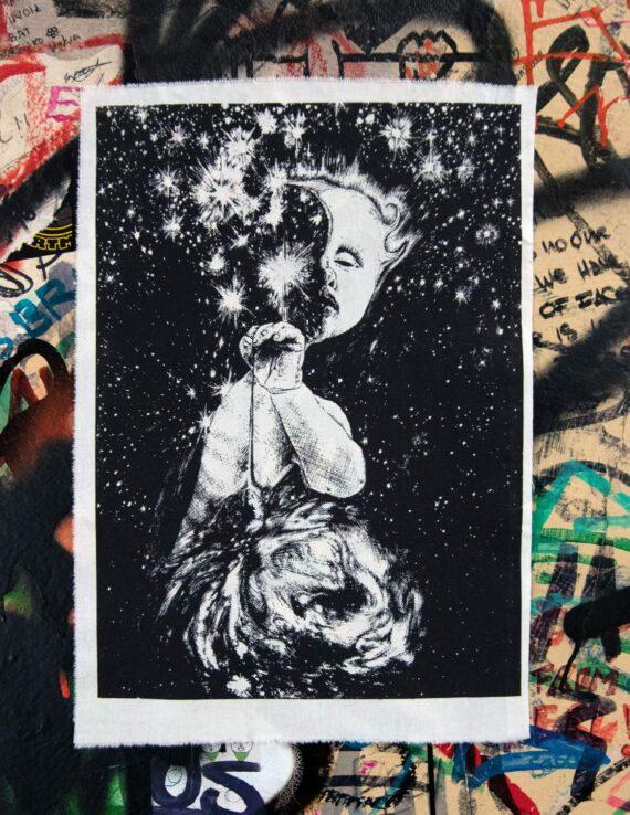 Starseeker Screenprint Back Patch on graffiti wall
