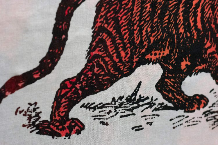 Sabre Tooth Tiger Red Orange Screenprint Back Patch close up detail
