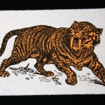 Sabre Tooth Tiger Orange Screenprint Back Patch on black background