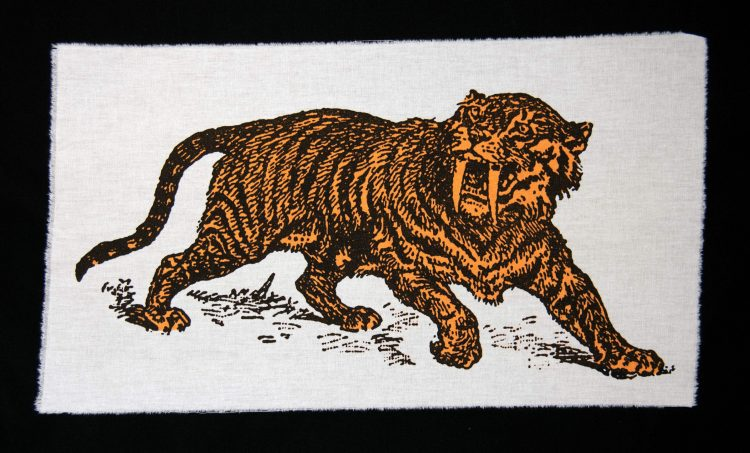 Sabre Tooth Tiger Orange Screenprint Back Patch on black background