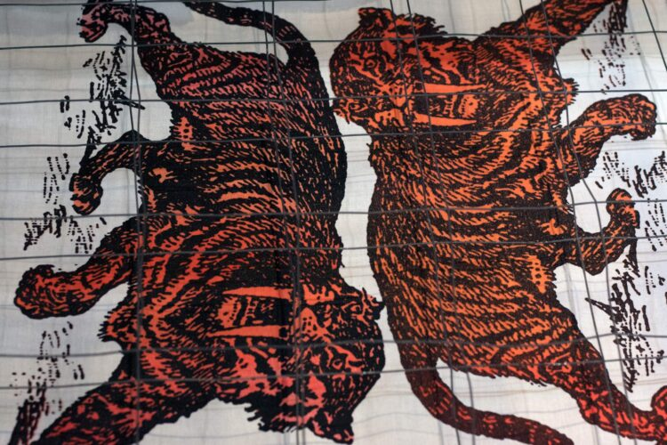 Sabre Tooth Tiger Screenprint Back Patches on drying rack