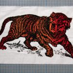 Sabre Tooth Tiger Red Orange Screenprint Back Patch on cm background