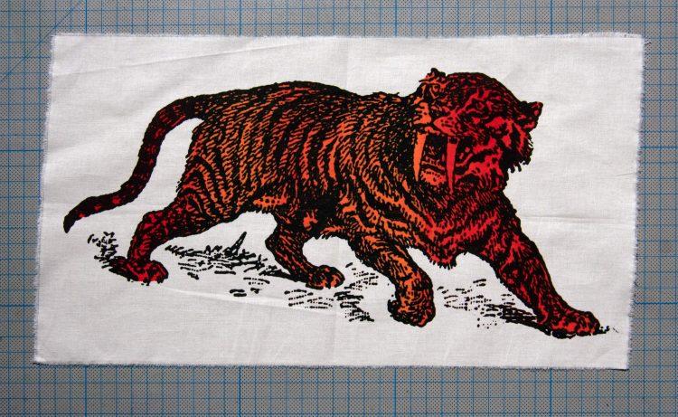 Sabre Tooth Tiger Red Orange Screenprint Back Patch on cm background